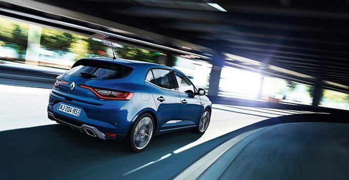 Blauwe Renault Megane
